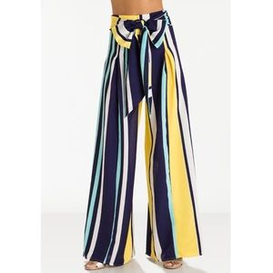 💫GRACIA | MULTICOLORED STRIPED WIDE-LEG PANT